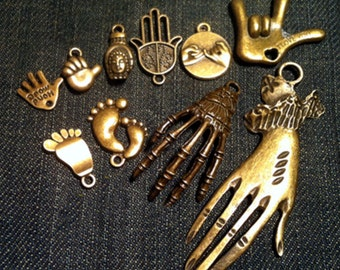 Hand Charms Pendants Collection Craft Jewelry Supplies 10 Different Charms , 10pcs/lot
