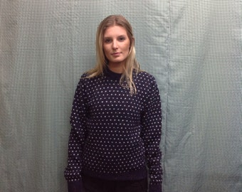 90s vintage Blue and white dotted wool pullover sweater