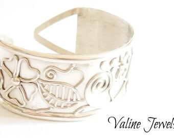 Floral Cuff Bracelet 925 Silver