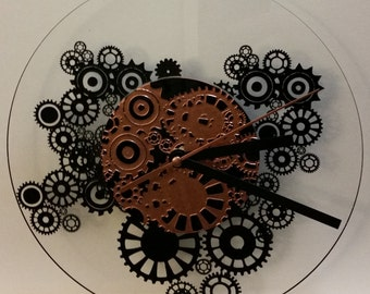 Steampunk clocks with opaque Center.