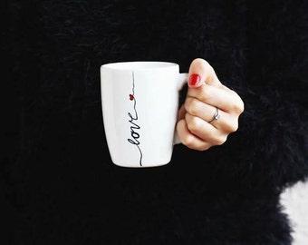 Mug for Coffee, Big Handpainted Mug, Coffee Mug, Coffee White Mug, Big Tea Mug, Perfect Gift for a Friend, Love Mug, Coffee or Tea Mug- Love