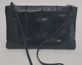 Clemente Vintage Black Snakeskin Clutch with Removable Strap