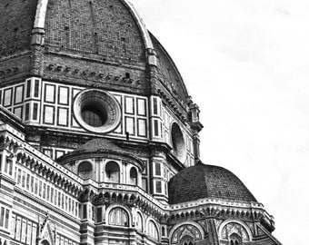 Black and White Print, Florence, Florence Cathedral, Firenze, Cattedrale Di Santa Maria, Italy, Architecture Print, Framed and Mounted Print