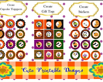 Halloween Printable Circle Halloween Printable Square Printable Party Tags, Circle Tags, Cupcake toppers, Gift Tags, Halloween Stickers, C94
