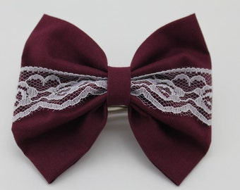 Maroon Center Lace Bow