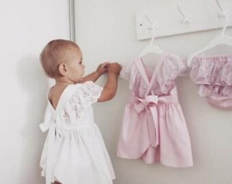"Baby girl dress ""LACE"", white bohemian boho dress, flower girl, wedding dress, baby shower gift, baptism dress, special occasion."