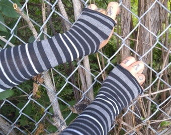 Gray, black and white striped fingerless gloves , punk rock arm warmers, cosplay, goth, gothic arm cuff, medieval costume gloves by