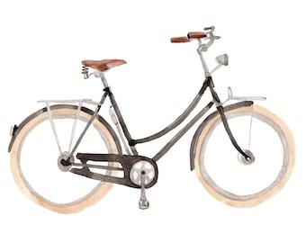 Watercolour Retro Black Bicycle with White Wheels Illustration