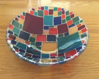 Fused glass candy dish