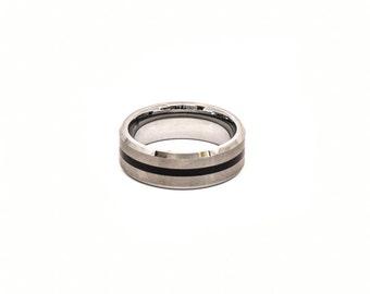 Tungsten silver with black line wedding ring