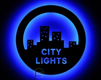 City Lights Wall Art and Night Light - City Skyline Sign and Decor