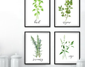 8x10 - Four Herbs Digital Prints (Wall Art, Printables, Calligraphy, Herbs, Watercolor, Simple, Green)