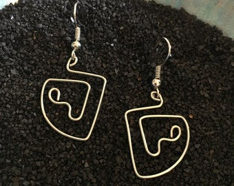 Silver Wire Dangle Earrings - One of a Kind Wearable Art!