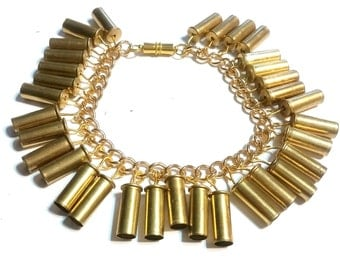 Bullet Jewelry- Gold Filled Steel Charm Bracelet with 22 Caliber Bullets