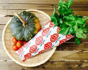 Extra Large 47cmx40cm | Beeswax Eco Wrap | Wrap cabbage halves, celery, kale, etc.