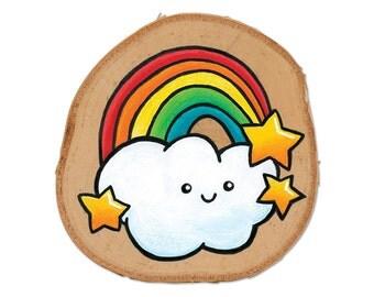 Happy Little Rainbow | Wood Painting