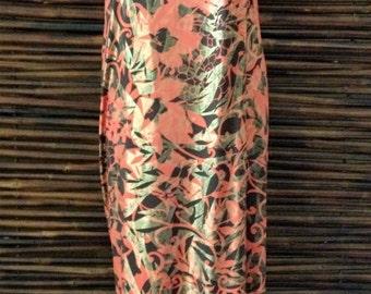 Orange Brown Metallic Strapless Dress