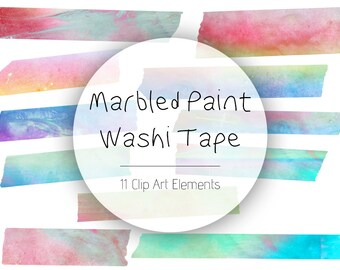 Marbled Paint Washi Tape Clip Art