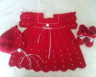 Holliday Dress, Bonnet,Booties and Head Band Set with white pearls