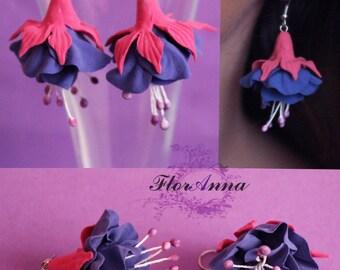 flower earrings, fuchsia earrings, purplr earrings, gift for her, fuchsia bride jewellery, purple bridal jewellery, white jewellery, white