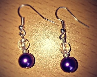 Earrings 'Shimmering Purple' Pearly drop earrings.