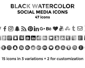Black Watercolor Social Media Icons Website Icons Blog Icons Social Media Icons Buttons Social Media Graphics Twitter