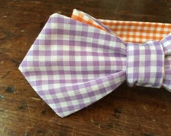 Clemson Bow Tie/ Tigers Bow Tie/ Purple/Orange/ Wedding Bow Tie/ Formal Bow Tie/ Plaid Reversible Self-tie Bow Tie/ Lapel Bow Tie