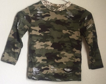 Camo Long Sleeve Bleached and Distressed Shirt Kids 4T