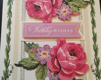 Birthday Wishes Card with Floral Design Handmade
