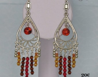 Earrings with Pearl tops & seed beads and big Pearl at the centre