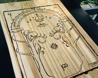 Doors of Durin Wood Burned Wall Decor
