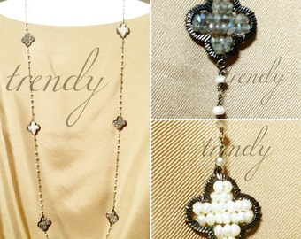 FreshwaterPearls&Gemstones'Silver Chained Necklace