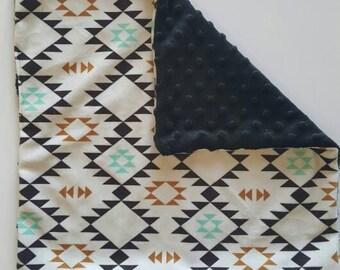 Navajo Minky security blanket.Lovey Blanket.Aztec baby blanket.Designer Minky Blanket.Baby boy shower gift.Aztec security blanket