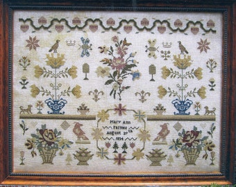 Mary Ann Farmer 1834 Reproduction Sampler by Scarlett House Counted Cross Stitch Pattern/Chart
