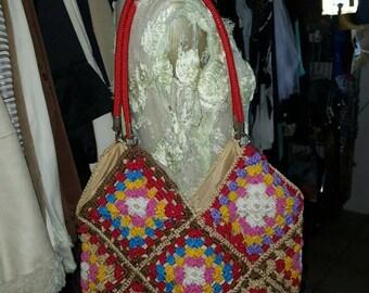 Handmade crochet shoulder bag