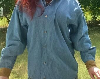 90's Denim Shirt W/ Tan Corduroy Collar & Cuffs, S - L