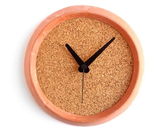 Terracotta and cork wall clock - Tire clock red