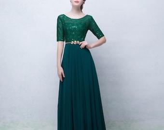 Green Lace  Evening Long Dress