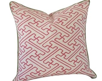 Pink Pillow, Decorative Pillow, Geometric Print, Graphic Pillow, Alan Campbell, China Seas, Quadrille Fabric, Saya Gata