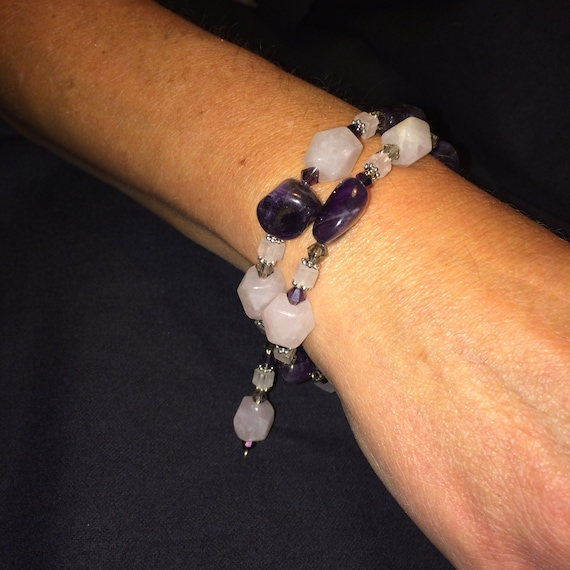 Number 23 Memory wire bracelet and ear rings hand made. Maine Artist