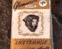 Glamourette 1950's Black Scalloped Lace Triangle Hair Scarf