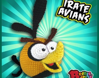 "Orange ""Irate Avian"" crochet stuffed plush toy amigurumi"