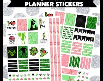 Zombies Walkers Undead Digital Printable Planner Stickers ECLP Life Planner