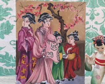 Vintage Asian Painting, Vintage Asian Decor, Asian Wall Hanging, Asian Wall Decor, Vintage Chinese Ladies Painting