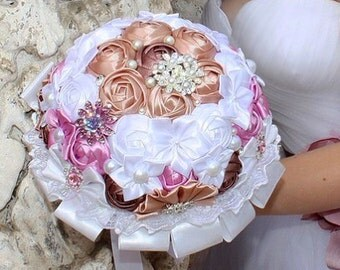 Brooch bouquet and boutonniere. Bridal bouquet, flower wedding, wedding bouquet, wedding