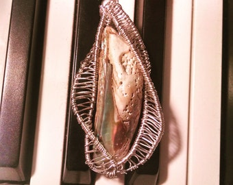 DNA Wire wrapped abalone shell Pendant