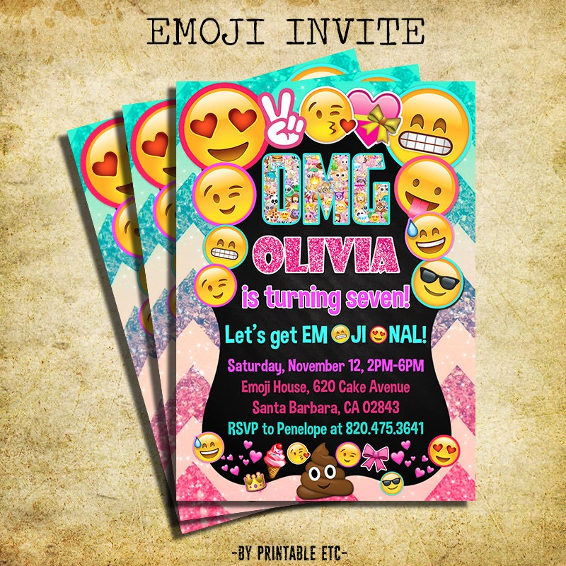 Emoji Invitation Emoji Icons Birthday Party Glitter Invite