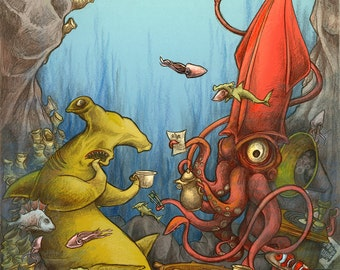 20 meters below the sea - A2 poster, shark and Octopus