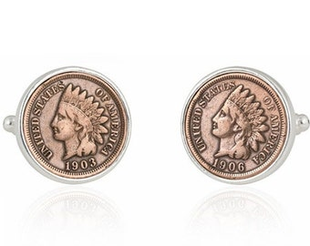 Indian Head Penny Cufflinks U.S Coin Cent Groomsmen Groom Wedding Gift Cuff Links