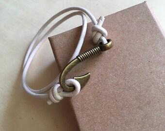 String White Leather Bracelet small hook bronze